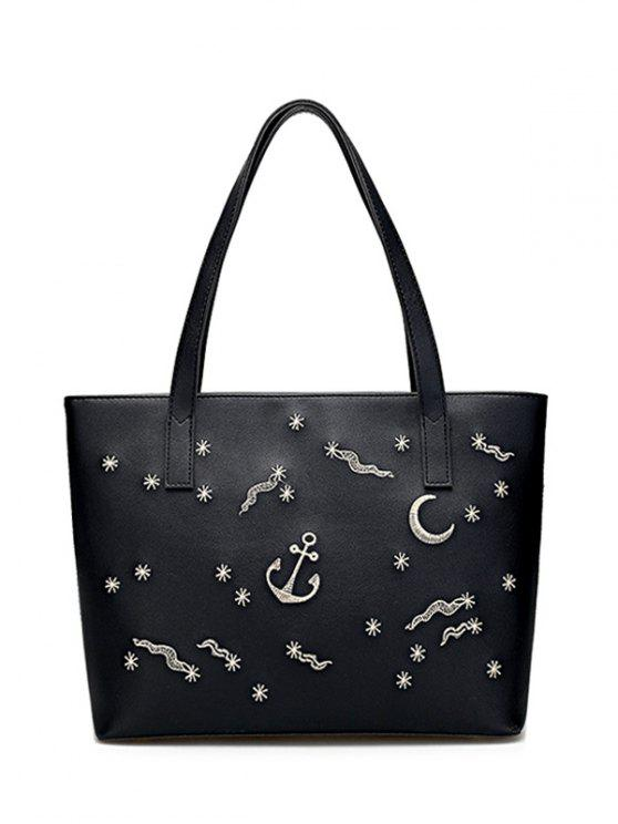 fashion Faux Leather Embroidery Shoulder Bag - BLACK