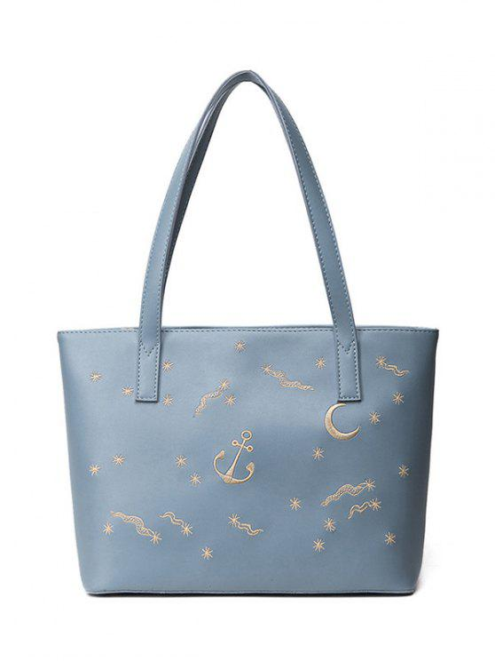 chic Faux Leather Embroidery Shoulder Bag - BLUE