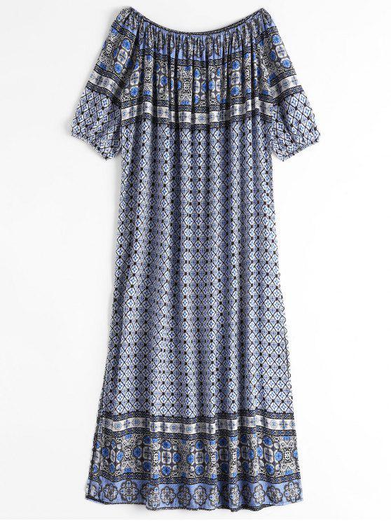 Printed Slit Off Shoulder Maxi Dress - Preto Tamanho único