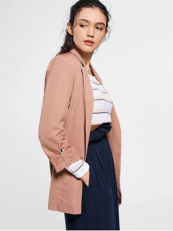 lady Invisible Pockets Lapel Blazer - DEEP PINK S
