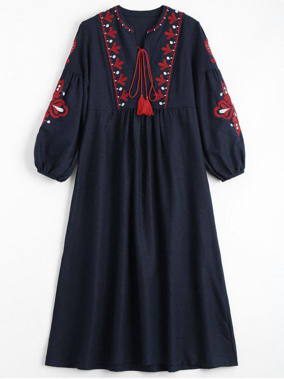 best Puff Sleeve Floral Patched Tassels Dress - PURPLISH BLUE ONE SIZE