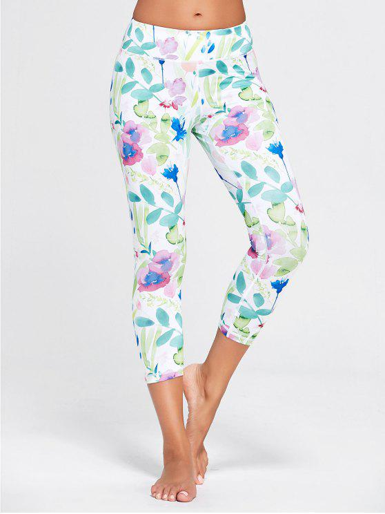 sale Flower Patterned Workout Tights - WHITE L