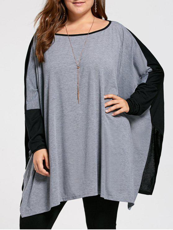 T-shirt manches longues batwing taille grand taille - Gris 3XL