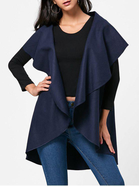 women's Wool Blend Sleeveless Open Front Cape - PURPLISH BLUE ONE SIZE