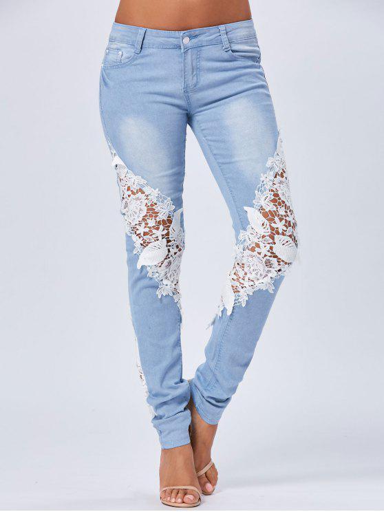 جينز دانتيل مستقيم - أزرق XL