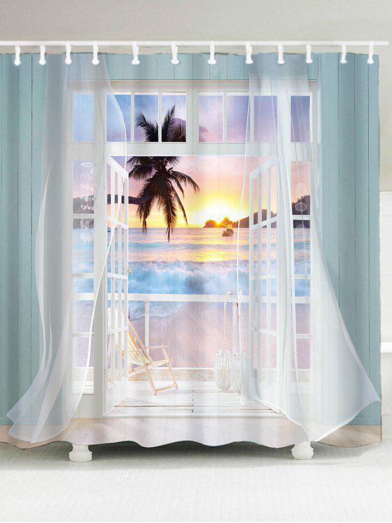 3d كاذبة نافذة الغروب مطبوعة ماء دش الستار - ملون W79 بوصة * L71 بوصة
