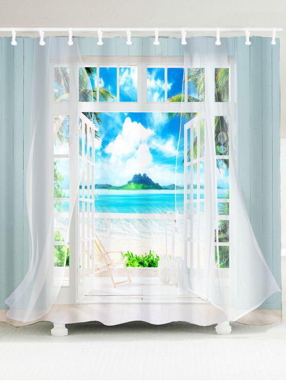 3d إطار النافذة المطبوعة النسيج دش الستار - أزرق W59 بوصة * L71 بوصة