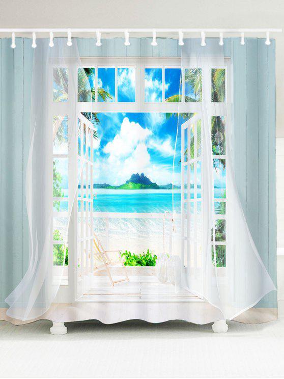 3d إطار النافذة المطبوعة النسيج دش الستار - أزرق W79 بوصة * L71 بوصة