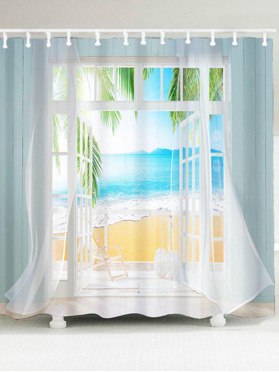 3d كاذبة نافذة مياه البحر المطبوعة ماء دش الستار - مزيج ملون W71 بوصة * L71 بوصة