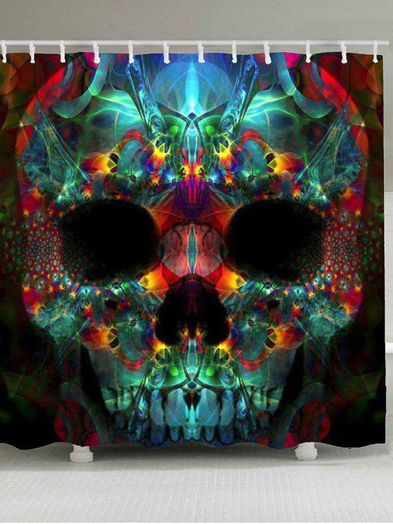 هالوين الملونة الجمجمة طباعة ماء دش الستار - ملون W79 بوصة * L71 بوصة