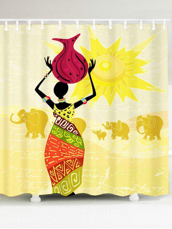 المرأة الأفريقية الفيل نمط ماء دش الستار - ملون W79 بوصة * L71 بوصة