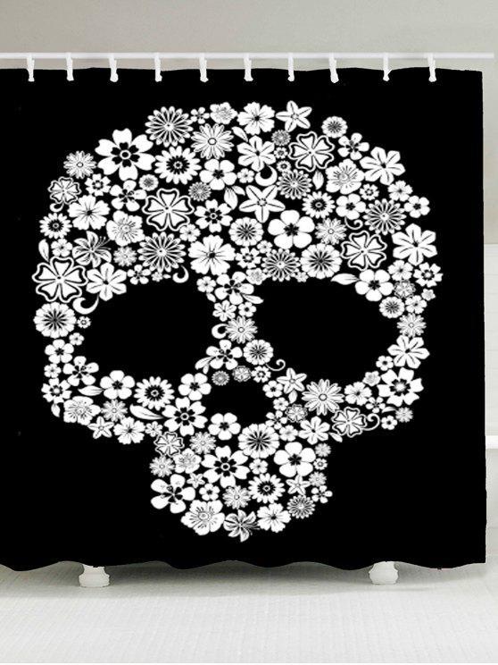 هالوين الزهور الجمجمة المطبوعة للماء دش الستار - أبيض وأسود W59 بوصة * L71 بوصة