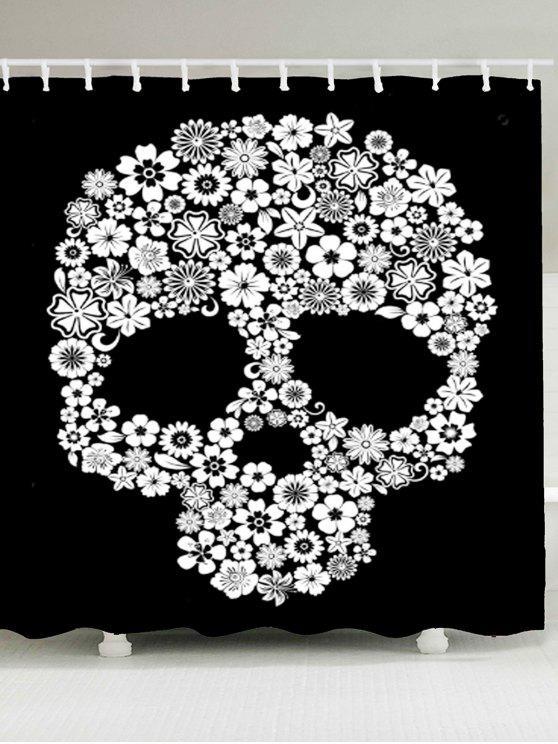 هالوين الزهور الجمجمة المطبوعة للماء دش الستار - أبيض وأسود W79 بوصة * L71 بوصة