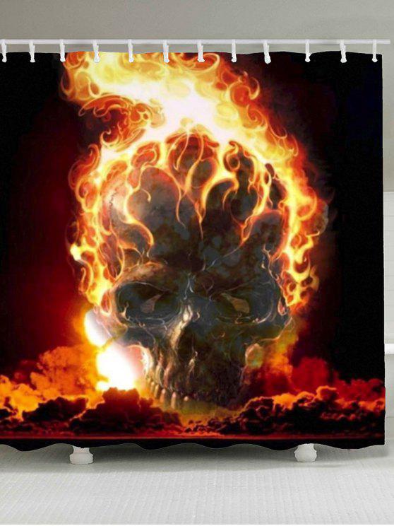 هالوين حرق الجمجمة المطبوعة دش الستار - ملون W71 بوصة * L71 بوصة