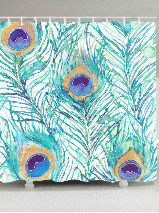 الطاووس الريش مطبوعة للماء دش الستار - LIGHT GREEN W59 بوصة * L71 بوصة