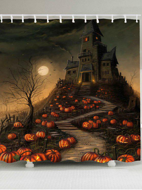 new Halloween Pumpkin Castle Print Waterproof Shower Curtain - COLORFUL W65 INCH * L71 INCH