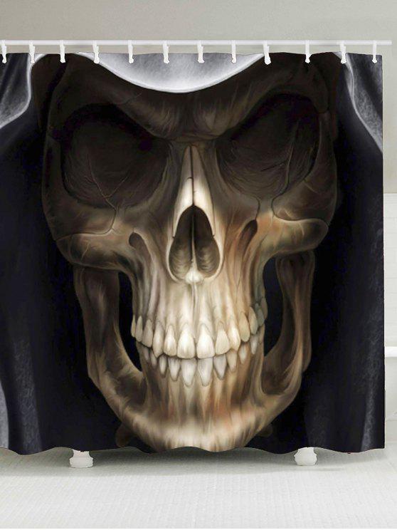 3D ستار للحمام مضاد للماء بطبعة جمجمة مخيفة - الأسود وبراون W79 بوصة * L71 بوصة