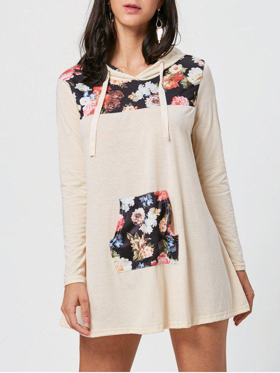 shop Floral Print Kangaroo Pocket Hooded Mini Dress - COLORMIX XL