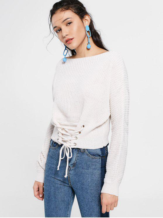 women Boat Neck Lace Up Sweater - WHITE ONE SIZE