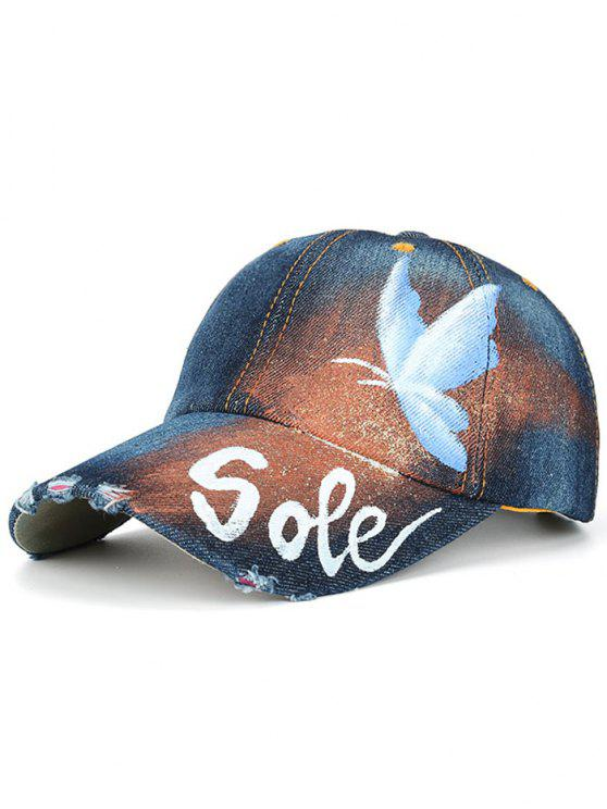 womens Hand Painted Butterfly Letters Printed Baseball Hat - CERULEAN