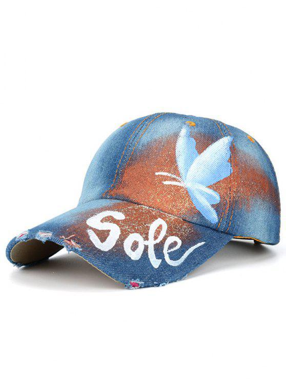قبعة بيسبول اليد رسمت فراشة رسائل مطبوعة - أزرق فاتح