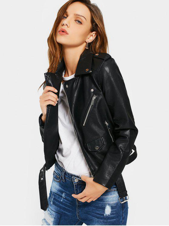 best Zip Up Belted Faux Leather Biker Jacket - BLACK L