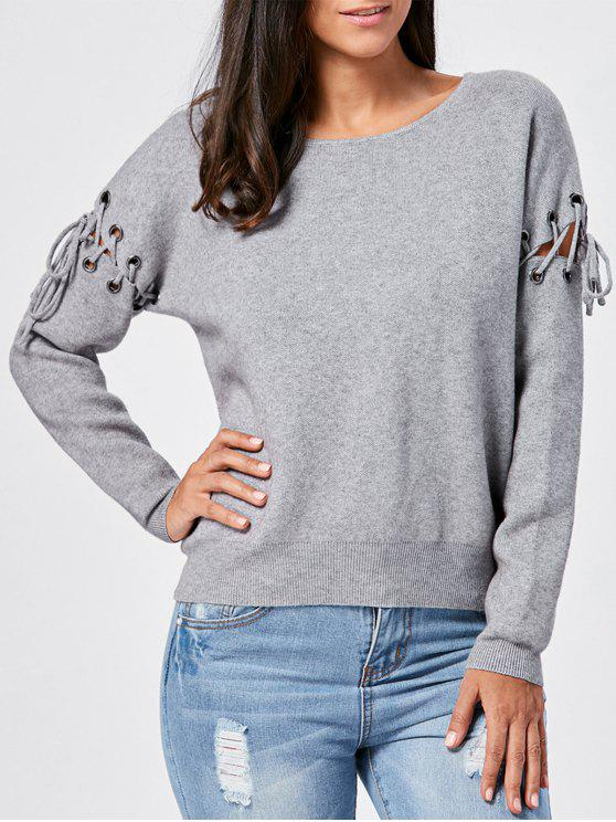 shop Pullover Lace Up Ribbed Knitwear - GRAY 2XL