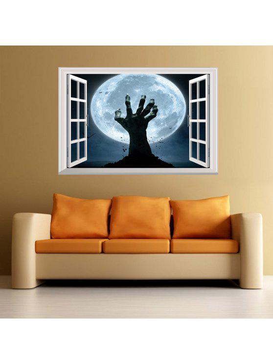 3d نافذة هالوين اليد جدار الفن ملصق - ازرق غامق 48.5 * 72CM