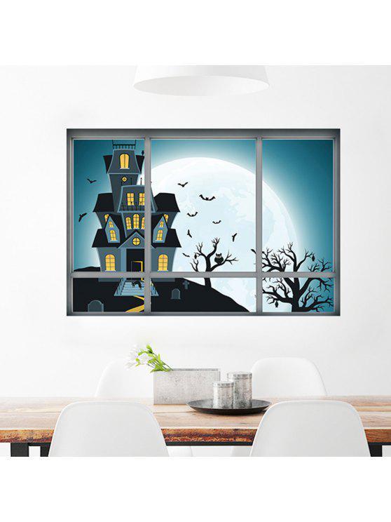 نافذة الكرتون هالوين القلعة جدار الفن ملصق - مزيج ملون 48.5 * 72CM