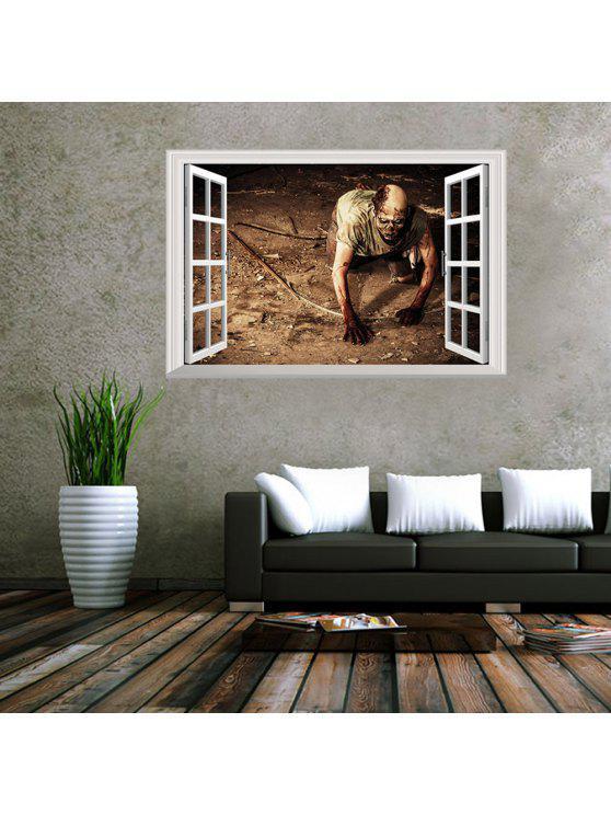 3d نافذة غيبوبة للإزالة جدار الفن ملصق - BROWN 48.5*72CM