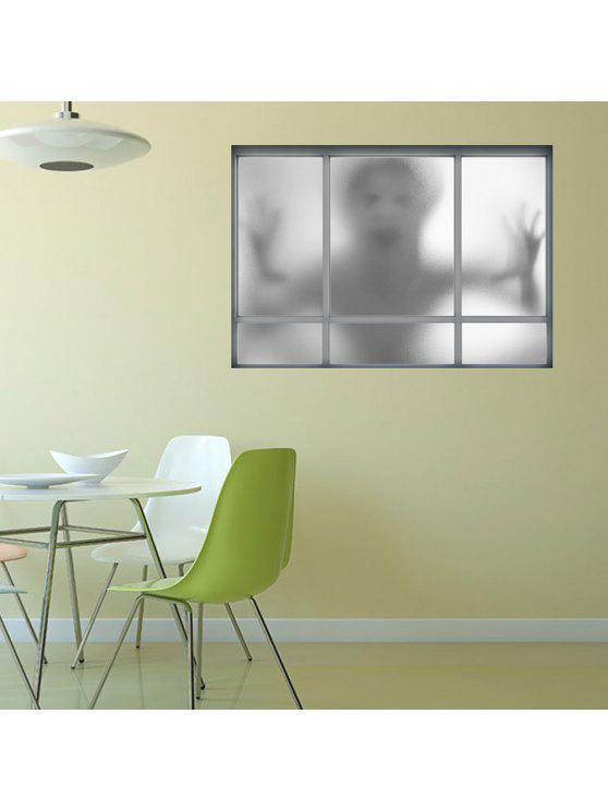 3d ملصق نافذة الشبح للإزالة الجدار ملصق - اللون الرمادي 48.5 * 68CM
