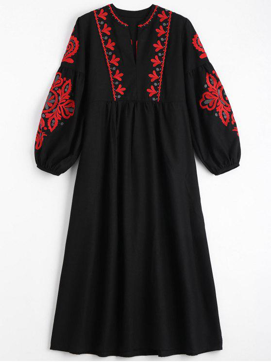 lady Puff Sleeve Floral Patched Tassels Dress - BLACK ONE SIZE