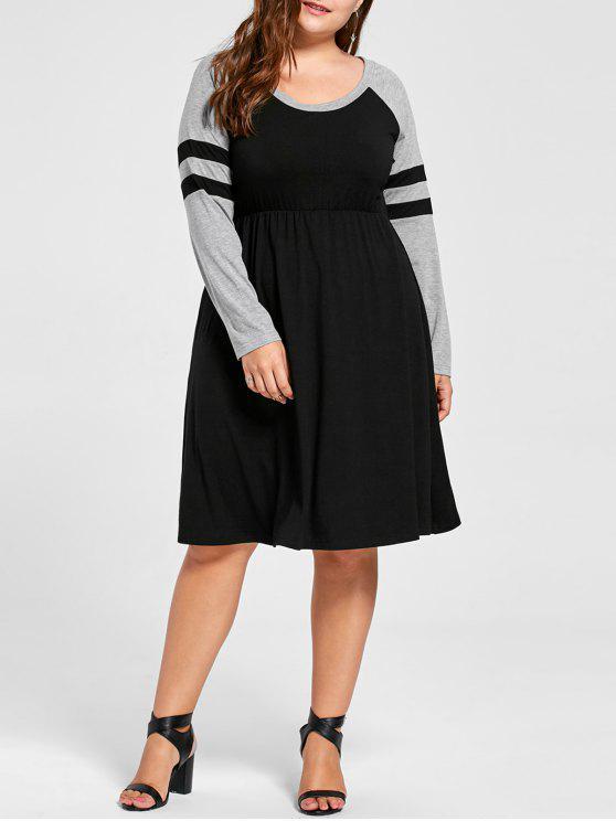 Vestido de patrón largo de manga larga - Negro XL