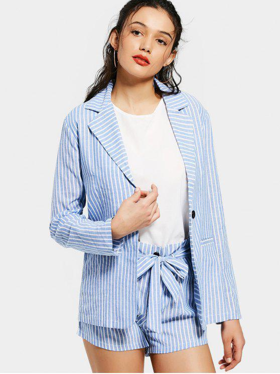 trendy Striped Pockets Blazer and Belted Shorts Set - STRIPE XL
