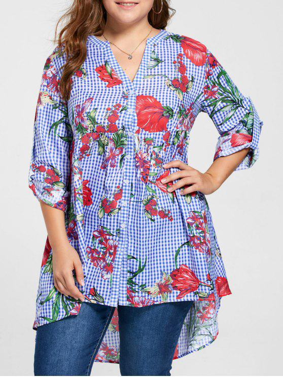202aab95fc6 2019 Plus Size Gingham Floral Babydoll Blouse In BLUE 5XL
