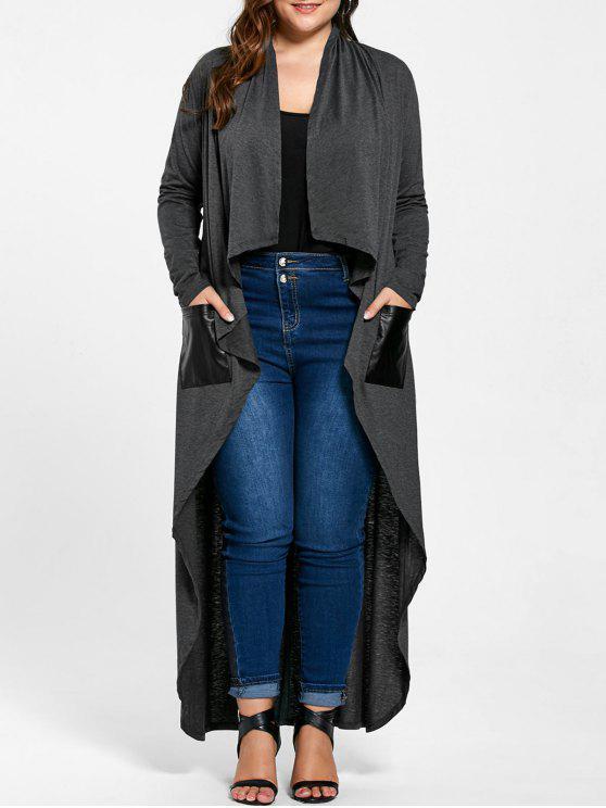 زائد الحجم الستارة معطف منفضة - لؤلؤة رمادي داكن 3XL