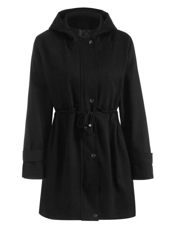زائد حجم مقنعين سحاب الرباط الخصر معطف - أسود 4XL