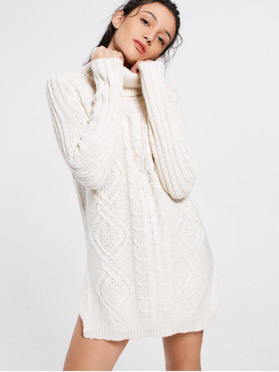 women Side Slit Turtleneck Cable Knit Sweater - BEIGE ONE SIZE