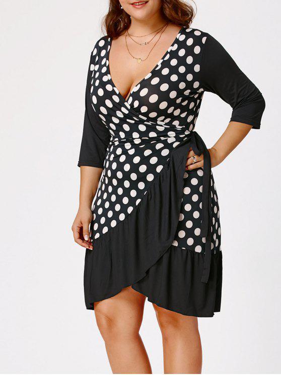 Polka Dot Print Plus Size Wrap Dress WHITE AND BLACK