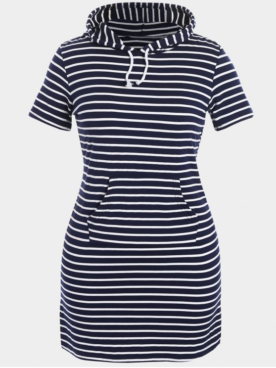 Striped Hooded Plus Size Bodycon Dress