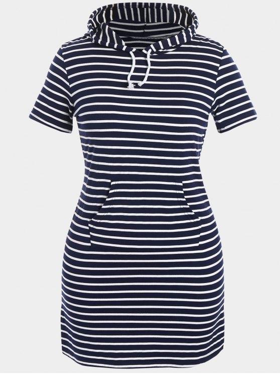 Vestito a strisce con cappuccio Plus Size Bodycon - Blu Violaceo 5XL