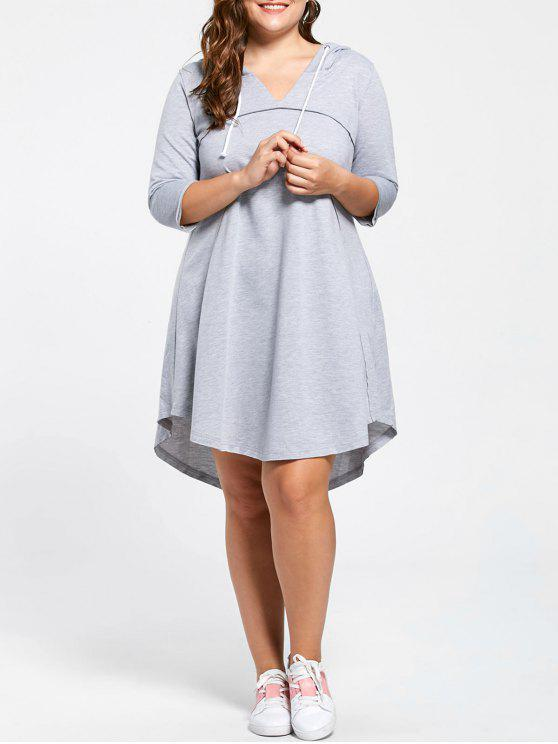 27% OFF] 2019 Plus Size Drawstring Neck Hooded Jersey Dress In LIGHT ...
