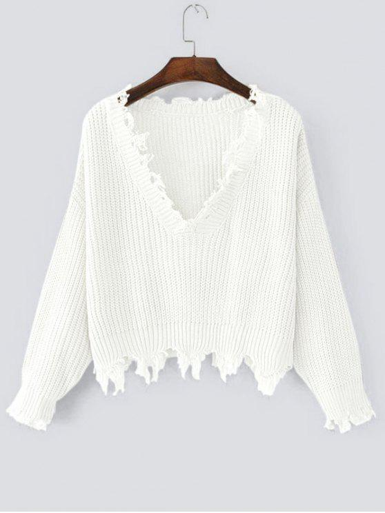 Loose Ripped V Neck Sweater - Blanco Única Talla