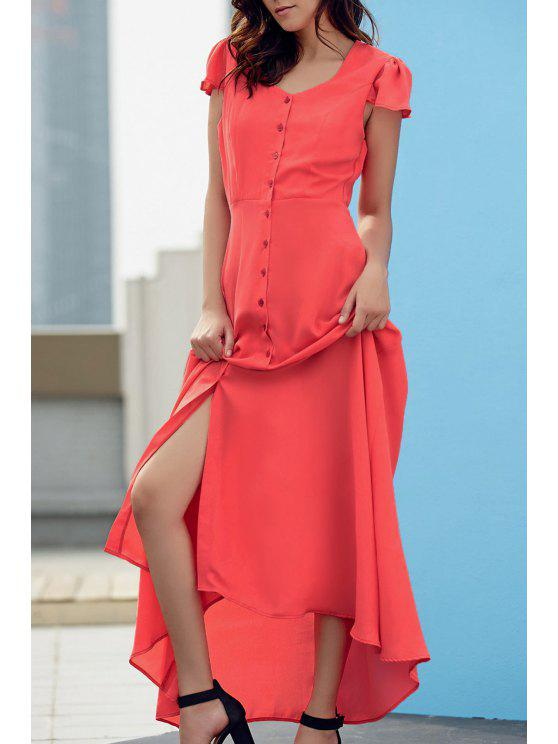 chic Cap Sleeve Single-Breasted Prom Dress - JACINTH XL