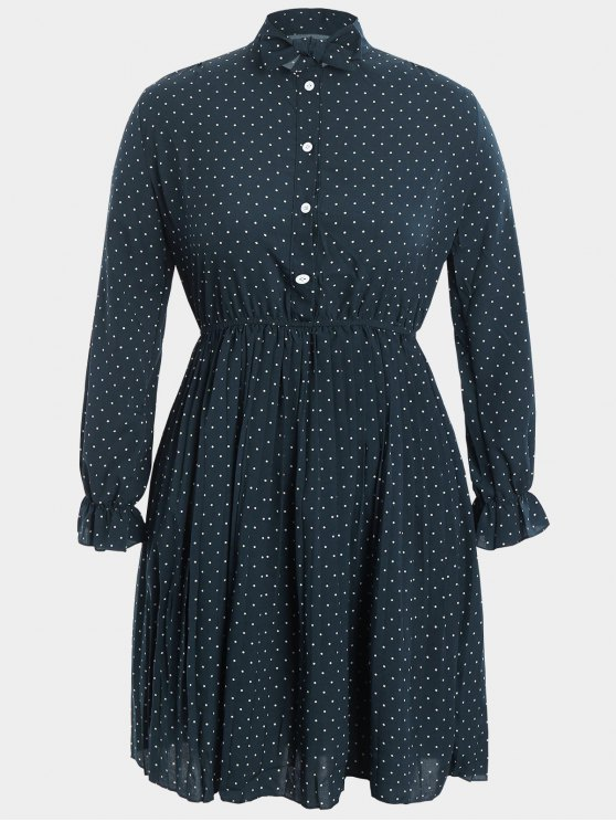 fashion Plus Size Bow Polka Dot Dress - CADETBLUE 4XL