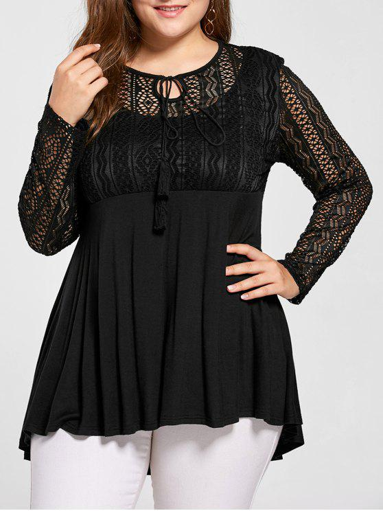 2aea9a38fe0 22% OFF  2019 Plus Size Lace Panel Peplum Blouse In BLACK 2XL