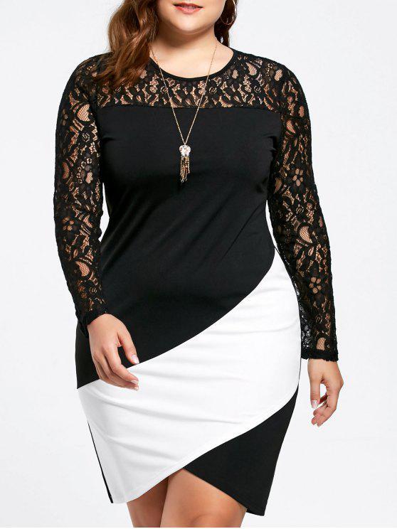 Vestido asimétrico de manga larga con panel de encaje de tallas grandes - Blanco y Negro 2XL