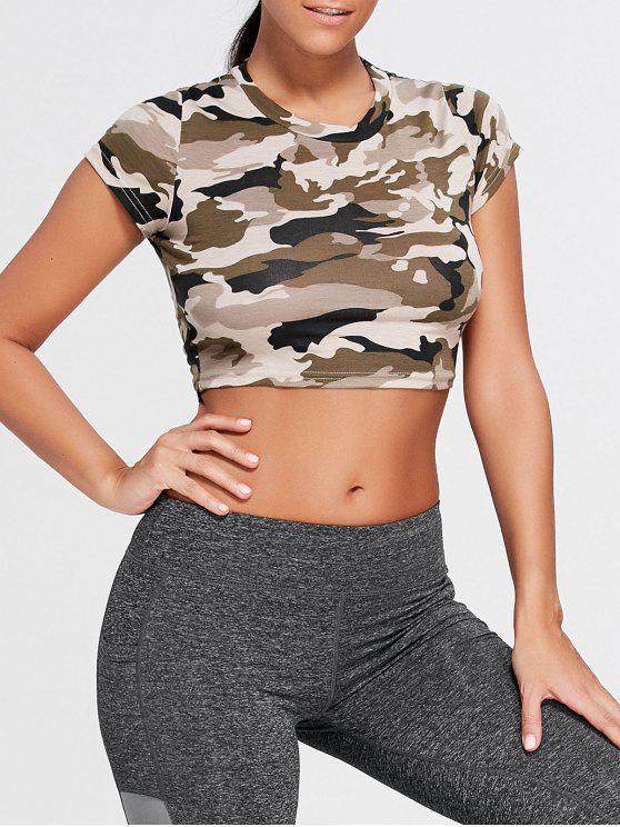 Geripptes Crop-T-Shirt mit Camouflage und Rundhalsausschnitt - Armee Grüne Camouflage S