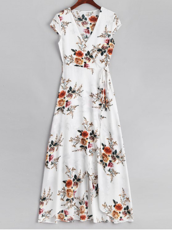 affordable Floral Asymmetrical Wrap Maxi Dress - WHITE XL