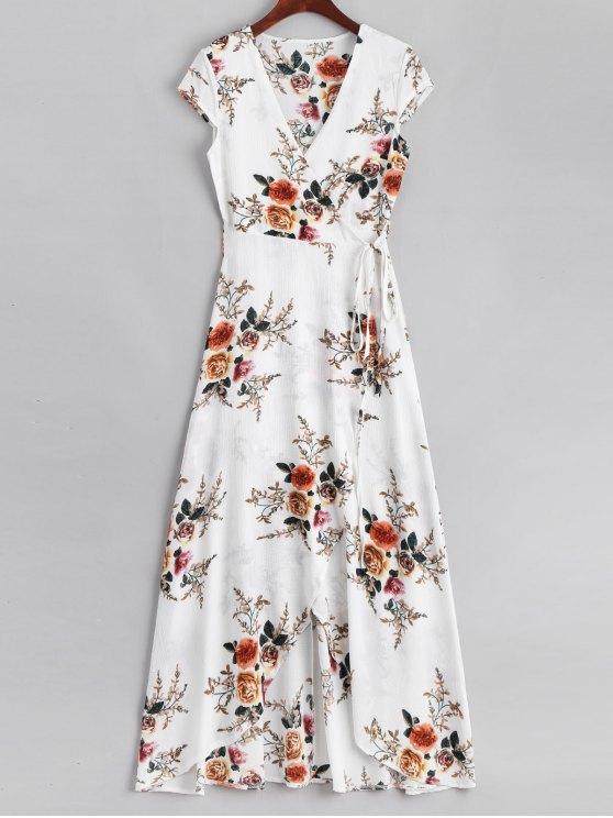 womens Floral Asymmetrical Wrap Maxi Dress - WHITE L